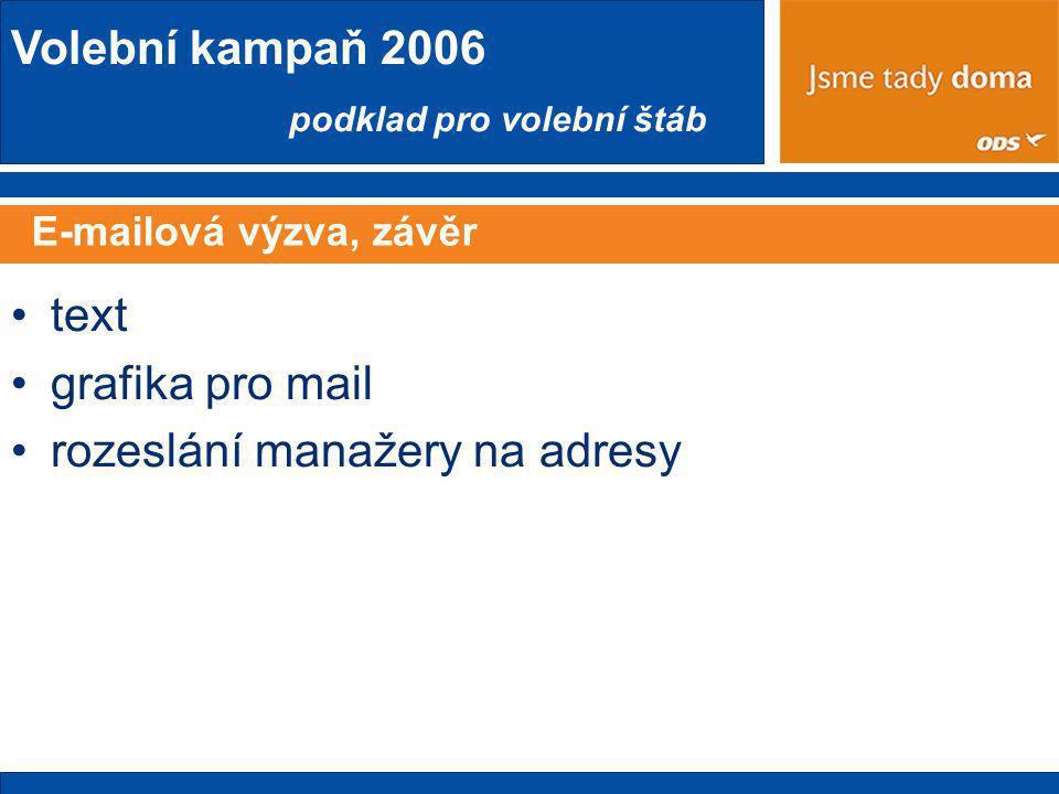 Volební kampaň 2006 podklad pro volební štáb E-mailová výzva, závěr •text •grafika pro mail •rozeslání manažery na adresy