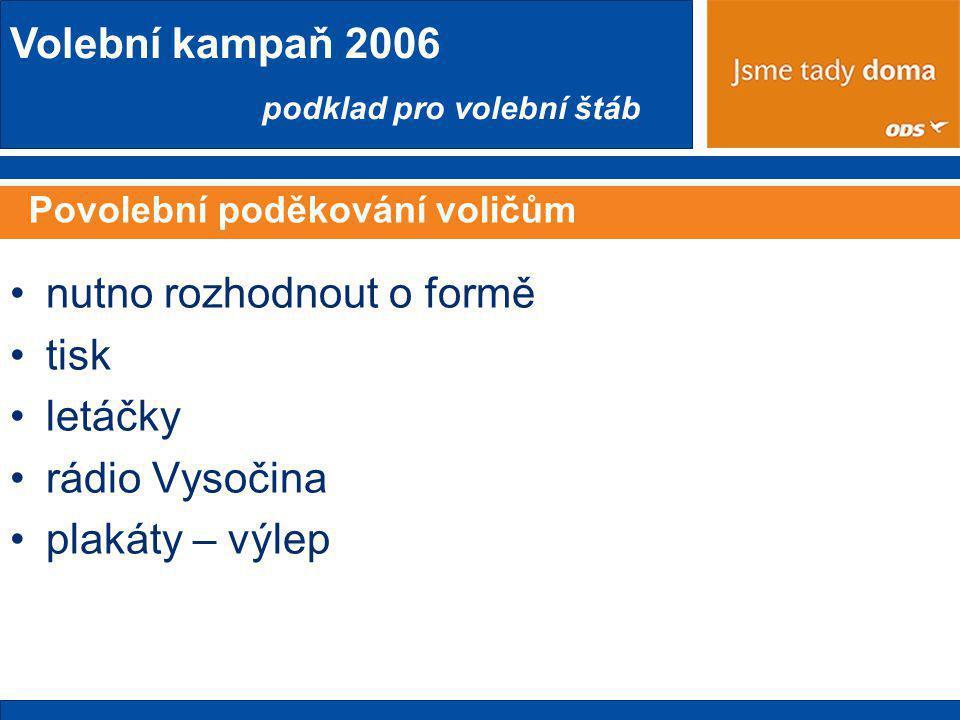 Volební kampaň 2006 podklad pro volební štáb Povolební poděkování voličům •nutno rozhodnout o formě •tisk •letáčky •rádio Vysočina •plakáty – výlep