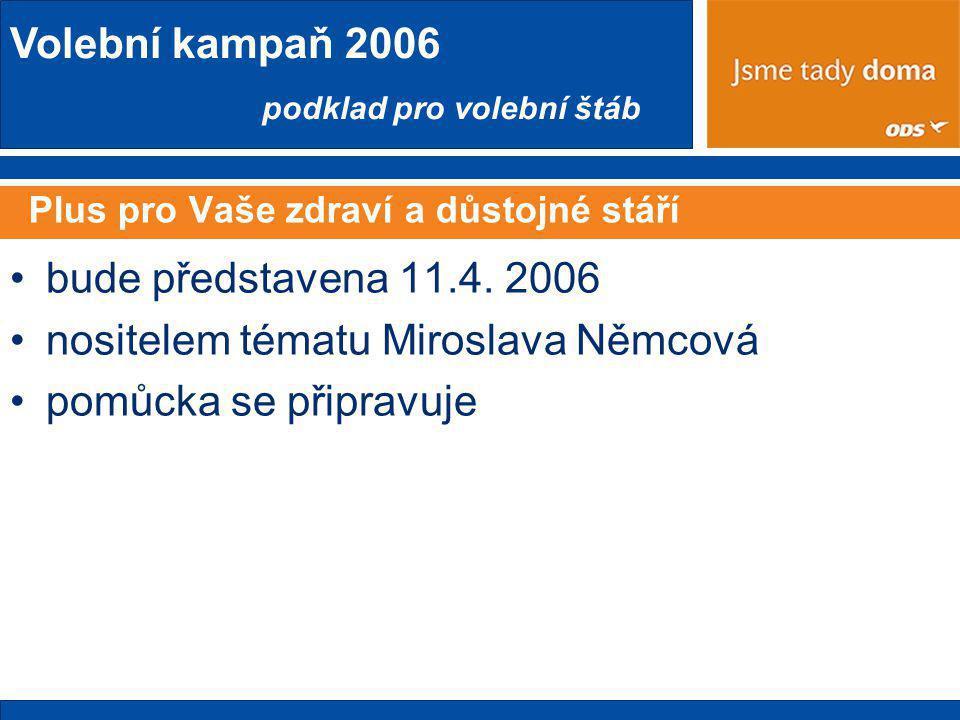 Volební kampaň 2006 podklad pro volební štáb Plus pro Vaše zdraví a důstojné stáří •bude představena 11.4.