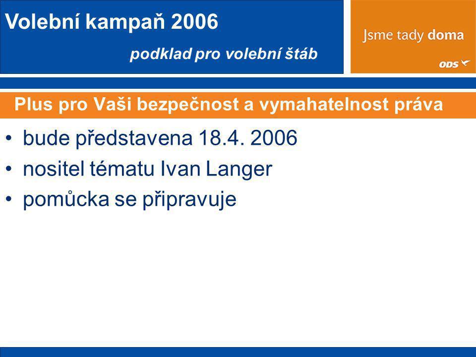 Volební kampaň 2006 podklad pro volební štáb Plus pro Vaši bezpečnost a vymahatelnost práva •bude představena 18.4.