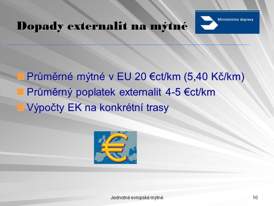 Jednotné evropské mýtné 9 Zpoplatn ě ní externalit Návrhy maxim.