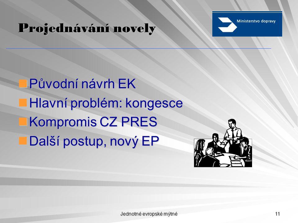 Jednotné evropské mýtné 10 Dopady externalit na mýtné  Průměrné mýtné v EU 20 €ct/km (5,40 Kč/km)  Průměrný poplatek externalit 4-5 €ct/km  Výpočty EK na konkrétní trasy