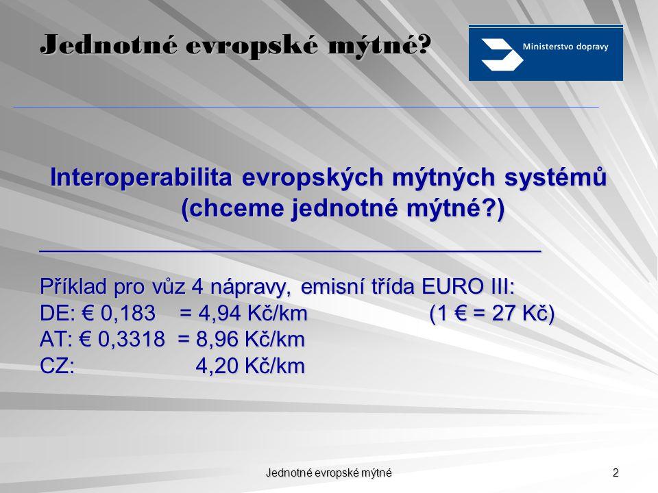 """Jednotné evropské mýtné 1 Obsah  Interoperabilita a EETS  Směrnice """"Euroviněta  Mýtný systém v ČR, současnost a budoucnost a budoucnost"""