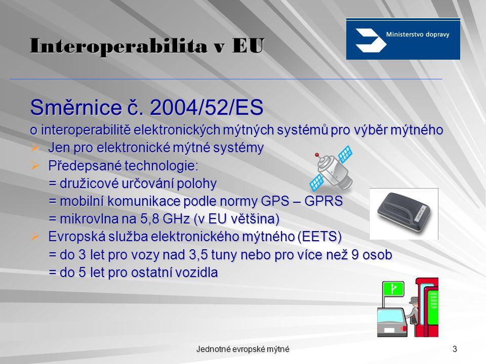 Jednotné evropské mýtné 3 Interoperabilita v EU Směrnice č.