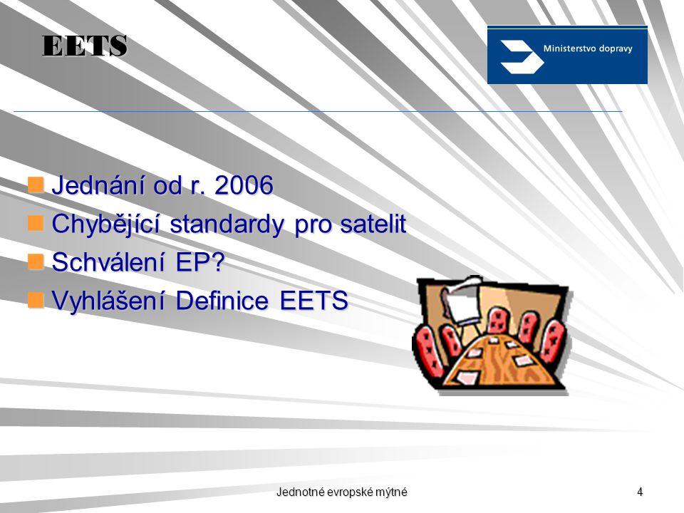 Jednotné evropské mýtné 14 Děkuji za Vaši pozornost Kontakt: Ing.