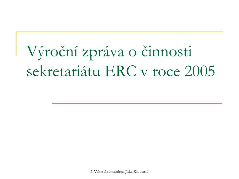 2. Valné shromáždění; Jitka Krausová Výroční zpráva o činnosti sekretariátu ERC v roce 2005