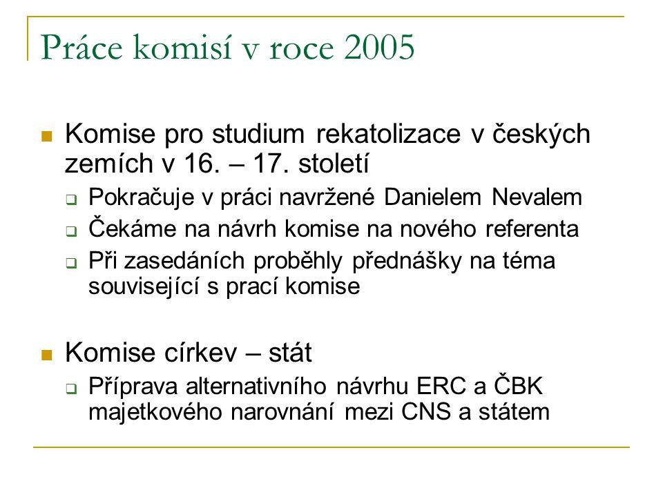 Práce komisí v roce 2005  Komise pro studium rekatolizace v českých zemích v 16. – 17. století  Pokračuje v práci navržené Danielem Nevalem  Čekáme