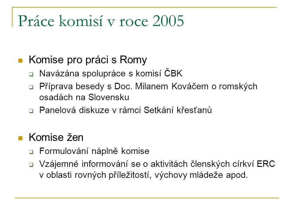 Práce komisí v roce 2005  Komise pro práci s Romy  Navázána spolupráce s komisí ČBK  Příprava besedy s Doc. Milanem Kováčem o romských osadách na S