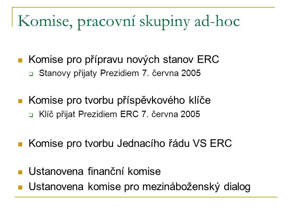 Komise, pracovní skupiny ad-hoc  Komise pro přípravu nových stanov ERC  Stanovy přijaty Prezidiem 7. června 2005  Komise pro tvorbu příspěvkového k