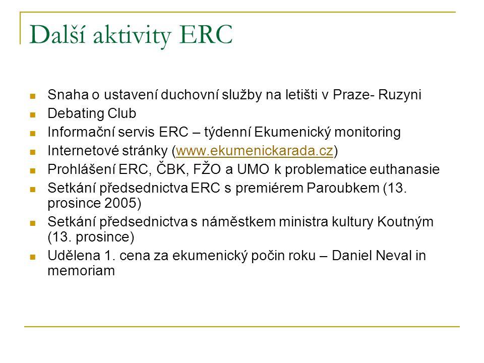 Další aktivity ERC  Snaha o ustavení duchovní služby na letišti v Praze- Ruzyni  Debating Club  Informační servis ERC – týdenní Ekumenický monitori