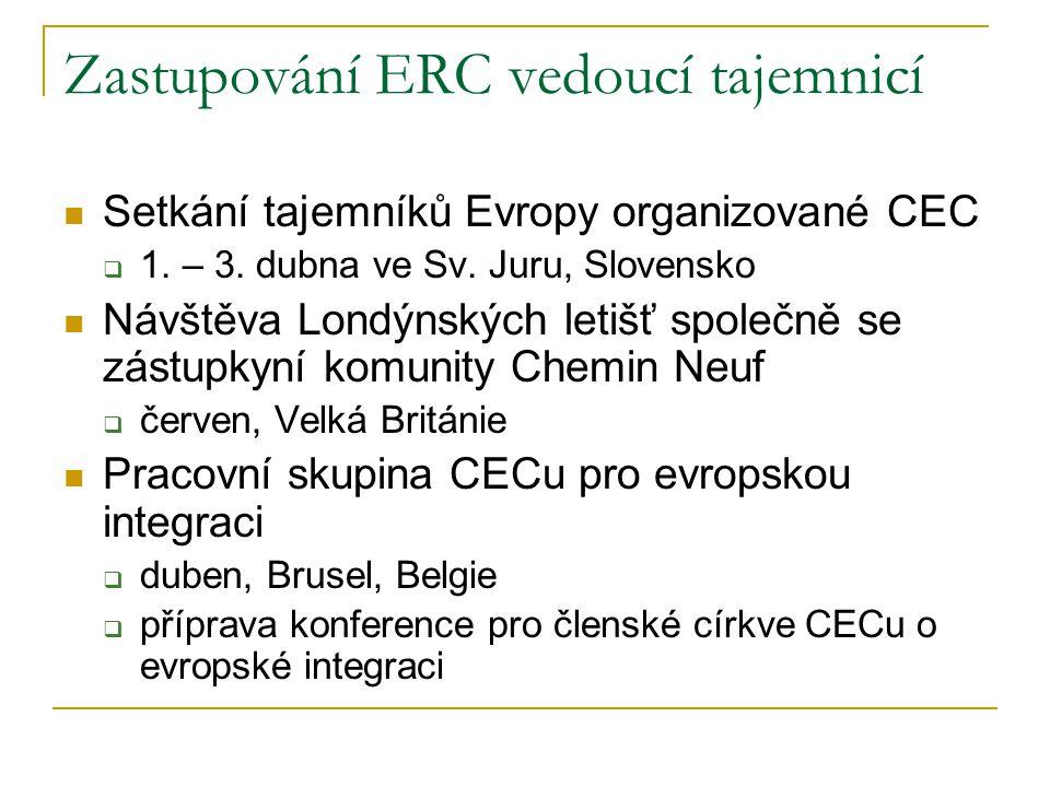 Zastupování ERC vedoucí tajemnicí  Setkání tajemníků Evropy organizované CEC  1. – 3. dubna ve Sv. Juru, Slovensko  Návštěva Londýnských letišť spo