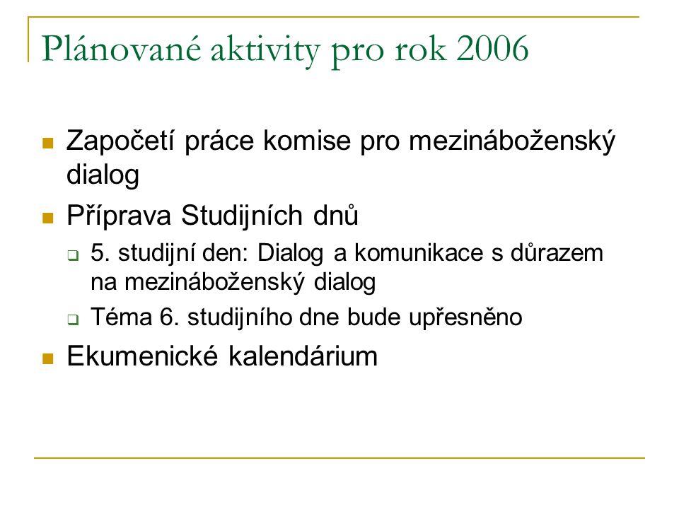 Plánované aktivity pro rok 2006  Započetí práce komise pro mezináboženský dialog  Příprava Studijních dnů  5. studijní den: Dialog a komunikace s d