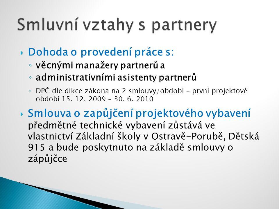  Dohoda o provedení práce s: ◦ věcnými manažery partnerů a ◦ administrativními asistenty partnerů ◦ DPČ dle dikce zákona na 2 smlouvy/období - první