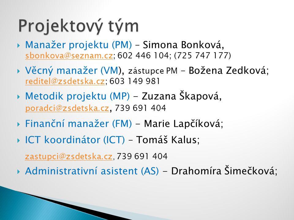  Manažer projektu (PM) – Simona Bonková, sbonkova@seznam.cz; 602 446 104; (725 747 177) sbonkova@seznam.cz  Věcný manažer (VM), zástupce PM – Božena