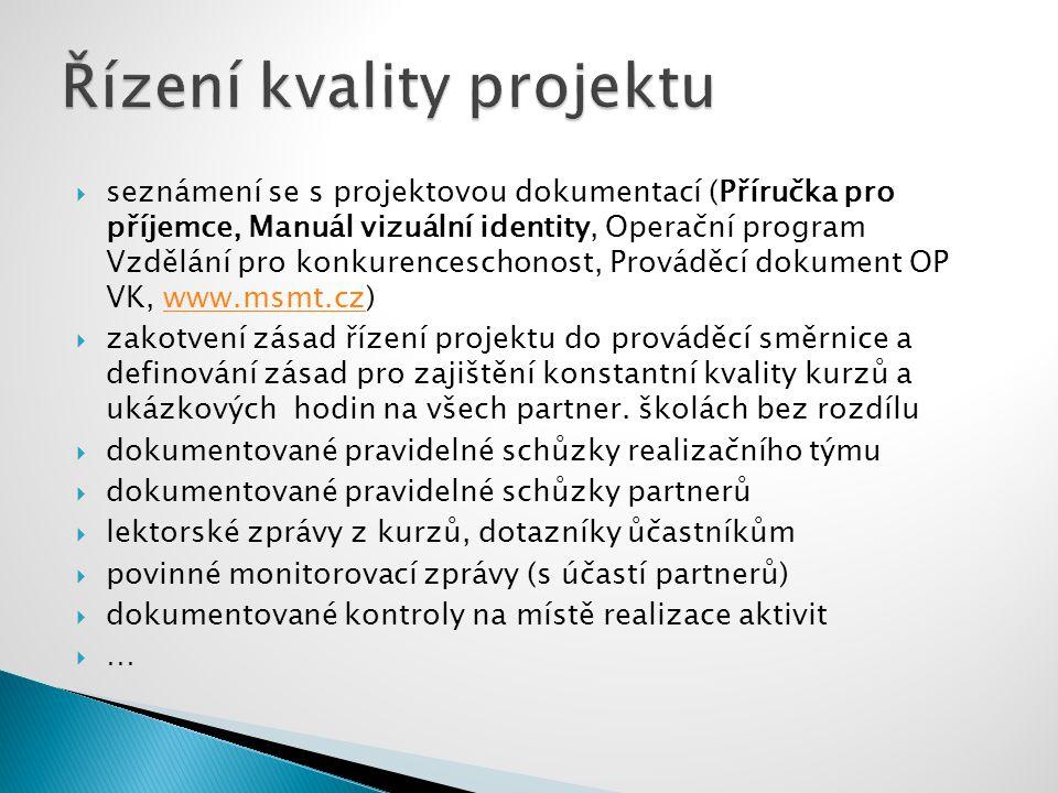  seznámení se s projektovou dokumentací (Příručka pro příjemce, Manuál vizuální identity, Operační program Vzdělání pro konkurenceschonost, Prováděcí