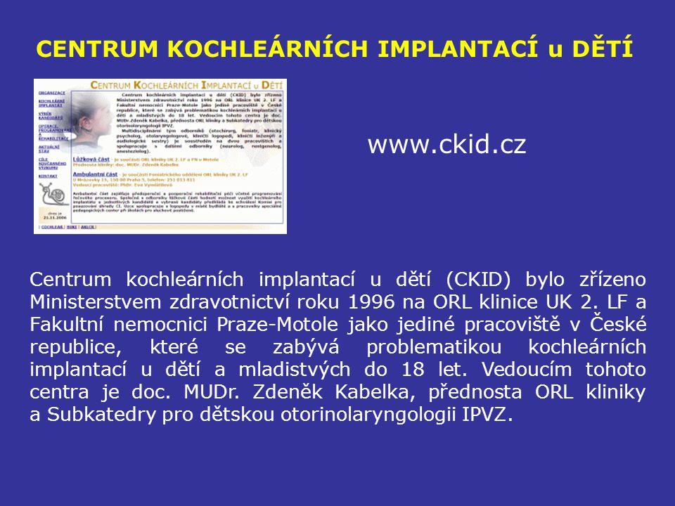 CENTRUM KOCHLEÁRNÍCH IMPLANTACÍ u DĚTÍ www.ckid.cz Centrum kochleárních implantací u dětí (CKID) bylo zřízeno Ministerstvem zdravotnictví roku 1996 na
