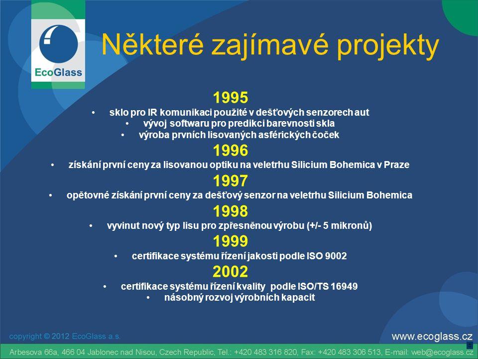 Některé zajímavé projekty 1995 •sklo pro IR komunikaci použité v dešťových senzorech aut •vývoj softwaru pro predikci barevnosti skla •výroba prvních