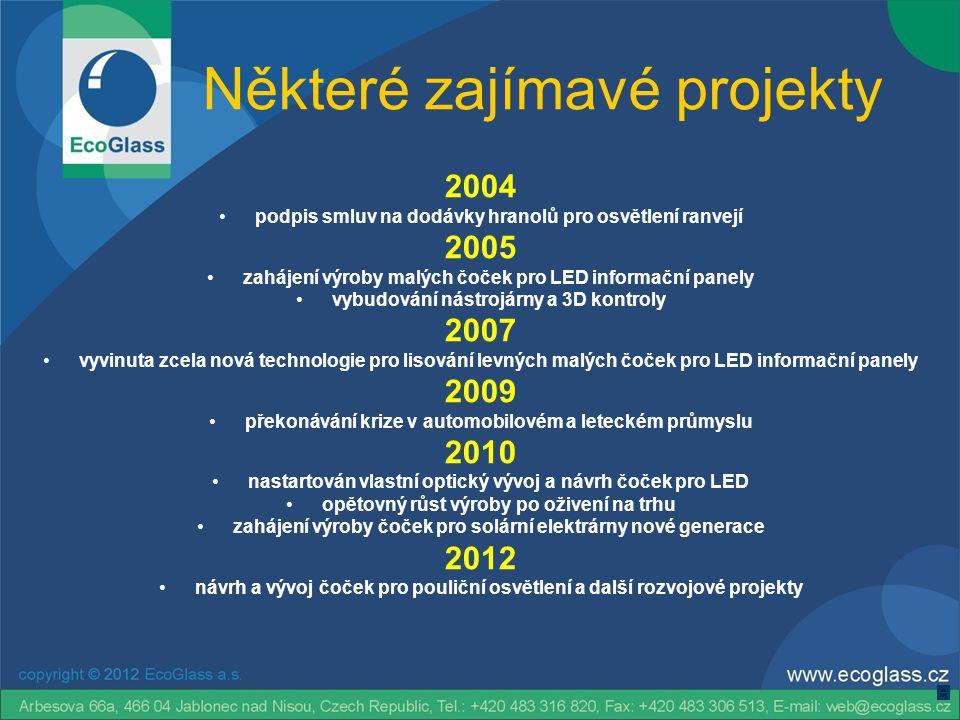 Některé zajímavé projekty 2004 •podpis smluv na dodávky hranolů pro osvětlení ranvejí 2005 •zahájení výroby malých čoček pro LED informační panely •vy