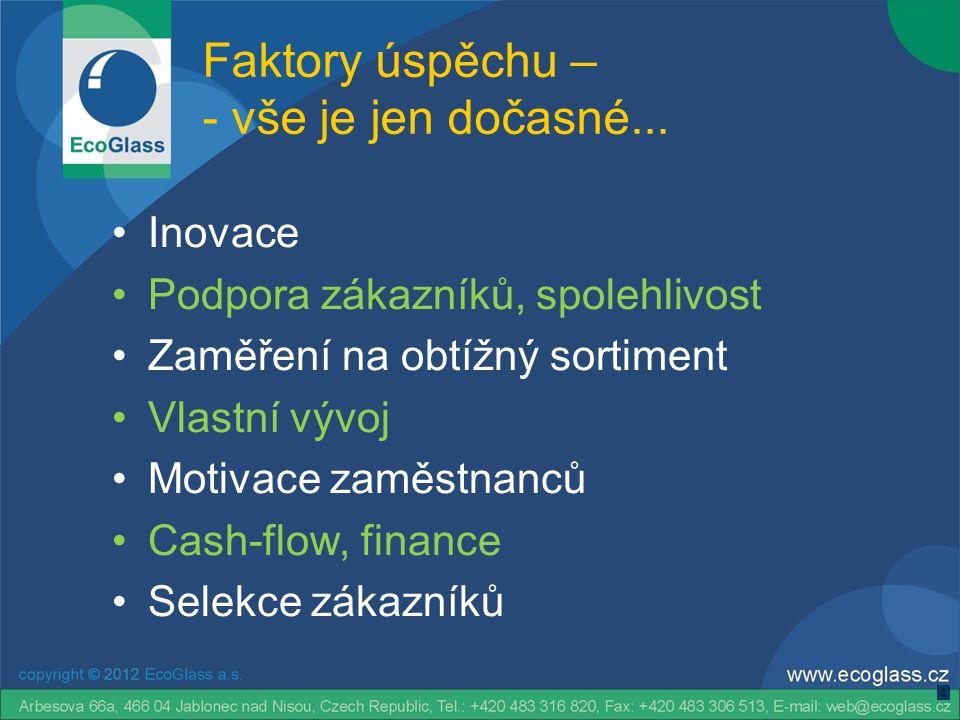 Faktory úspěchu – - vše je jen dočasné... •Inovace •Podpora zákazníků, spolehlivost •Zaměření na obtížný sortiment •Vlastní vývoj •Motivace zaměstnanc