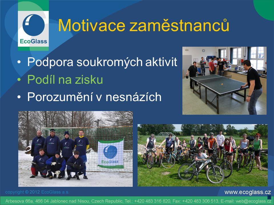Motivace zaměstnanců •Podpora soukromých aktivit •Podíl na zisku •Porozumění v nesnázích