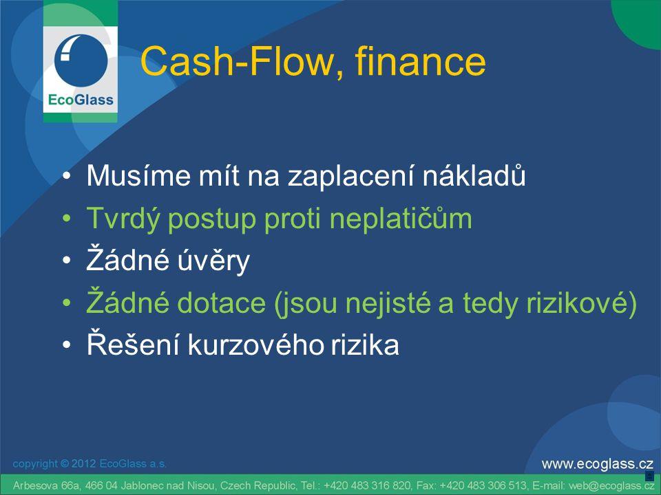 Cash-Flow, finance •Musíme mít na zaplacení nákladů •Tvrdý postup proti neplatičům •Žádné úvěry •Žádné dotace (jsou nejisté a tedy rizikové) •Řešení kurzového rizika