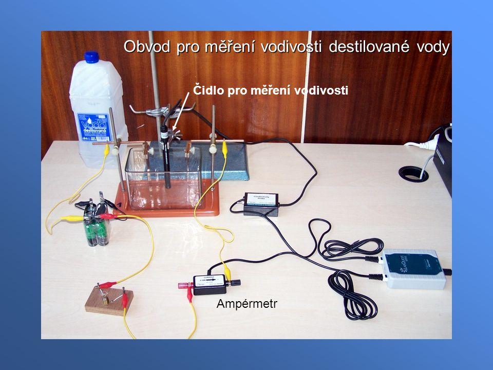 Obvod pro měření vodivosti destilované vody Ampérmetr Čidlo pro měření vodivosti