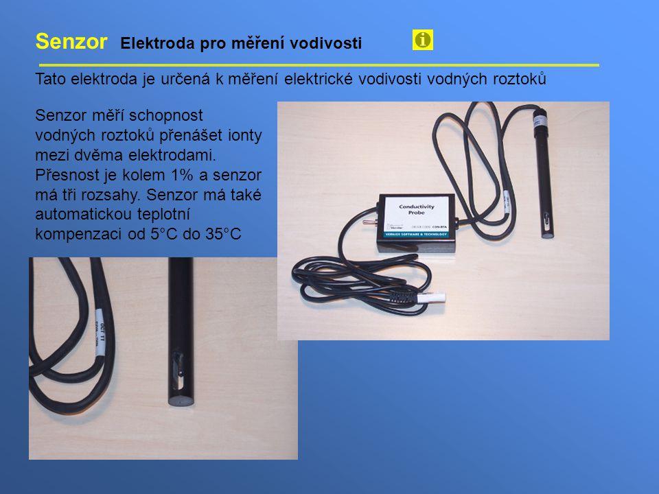Senzor Elektroda pro měření vodivosti Tato elektroda je určená k měření elektrické vodivosti vodných roztoků Senzor měří schopnost vodných roztoků pře
