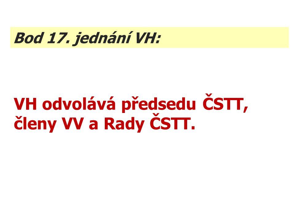 VH odvolává předsedu ČSTT, členy VV a Rady ČSTT. Bod 17. jednání VH: