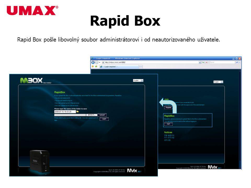Rapid Box Rapid Box pošle libovolný soubor administrátorovi i od neautorizovaného uživatele.