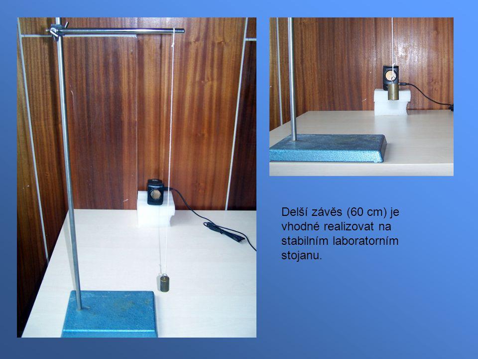 Delší závěs (60 cm) je vhodné realizovat na stabilním laboratorním stojanu.