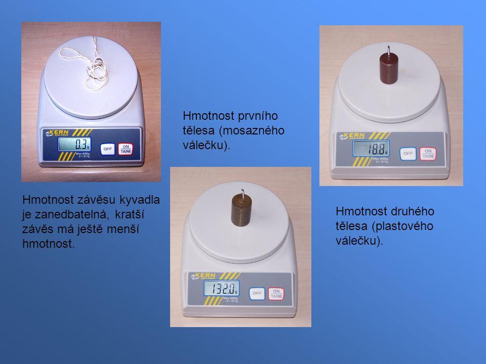 Hmotnost závěsu kyvadla je zanedbatelná, kratší závěs má ještě menší hmotnost. Hmotnost prvního tělesa (mosazného válečku). Hmotnost druhého tělesa (p