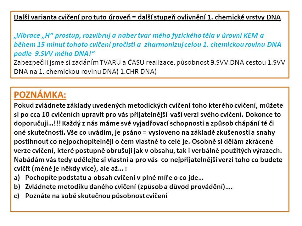 Provázanost SVV DNA a chemických vrstev hmoty 1.SVV DNA2.