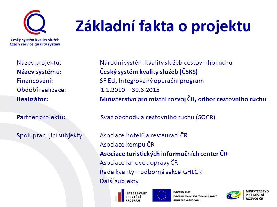 Základní fakta o projektu Název projektu: Národní systém kvality služeb cestovního ruchu Název systému:Český systém kvality služeb (ČSKS) Financování: