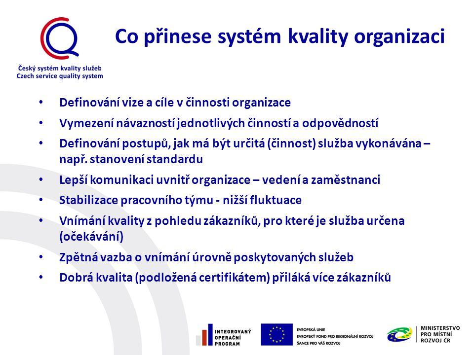 Co přinese systém kvality organizaci • Definování vize a cíle v činnosti organizace • Vymezení návazností jednotlivých činností a odpovědností • Defin