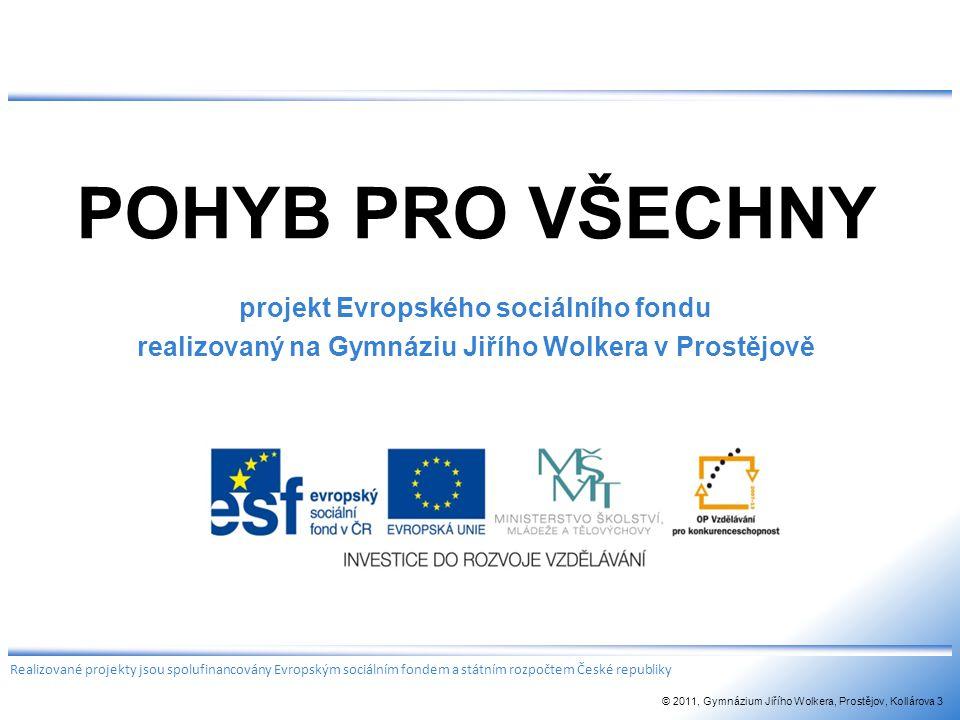 POHYB PRO VŠECHNY projekt Evropského sociálního fondu realizovaný na Gymnáziu Jiřího Wolkera v Prostějově Realizované projekty jsou spolufinancovány E