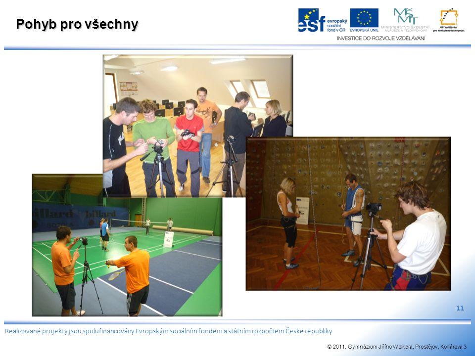 Pohyb pro všechny 11 Realizované projekty jsou spolufinancovány Evropským sociálním fondem a státním rozpočtem České republiky © 2011, Gymnázium Jiříh