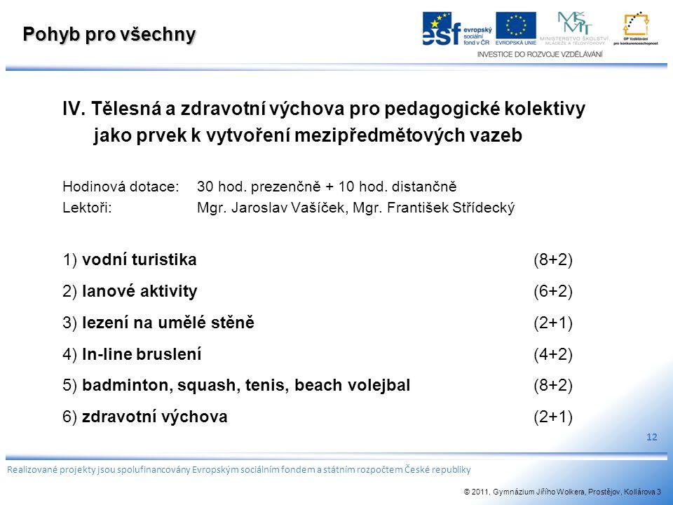 Pohyb pro všechny IV. Tělesná a zdravotní výchova pro pedagogické kolektivy jako prvek k vytvoření mezipředmětových vazeb Hodinová dotace:30 hod. prez