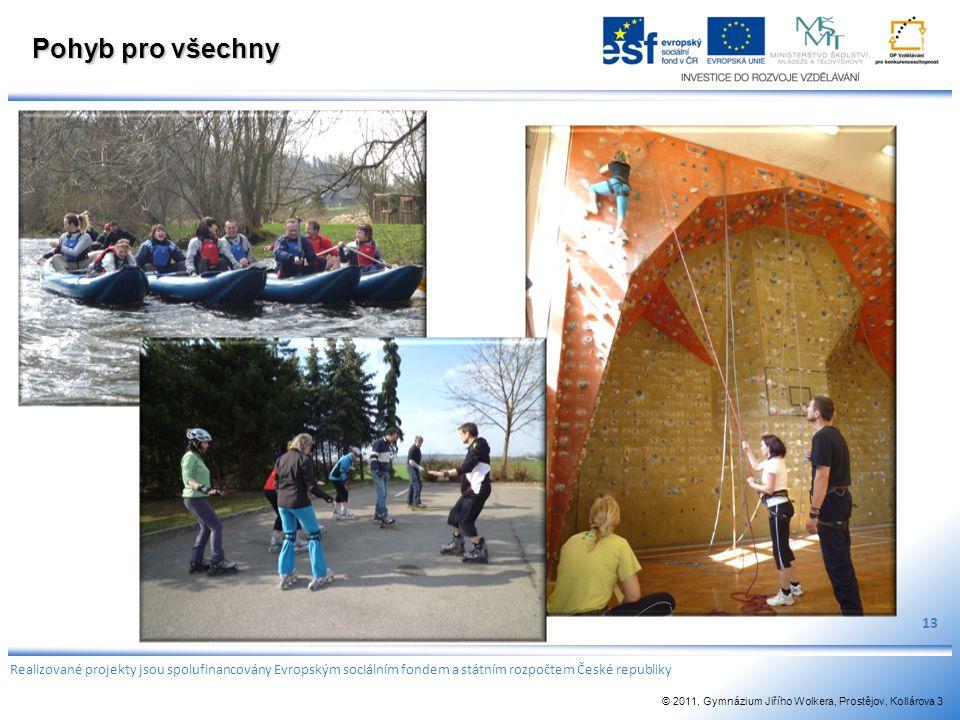 Pohyb pro všechny 13 Realizované projekty jsou spolufinancovány Evropským sociálním fondem a státním rozpočtem České republiky © 2011, Gymnázium Jiříh