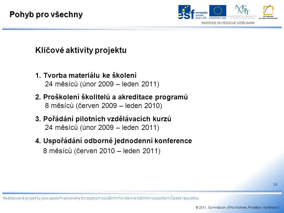 Pohyb pro všechny Klíčové aktivity projektu 1. Tvorba materiálu ke školení 24 měsíců (únor 2009 – leden 2011) 2. Proškolení školitelů a akreditace pro