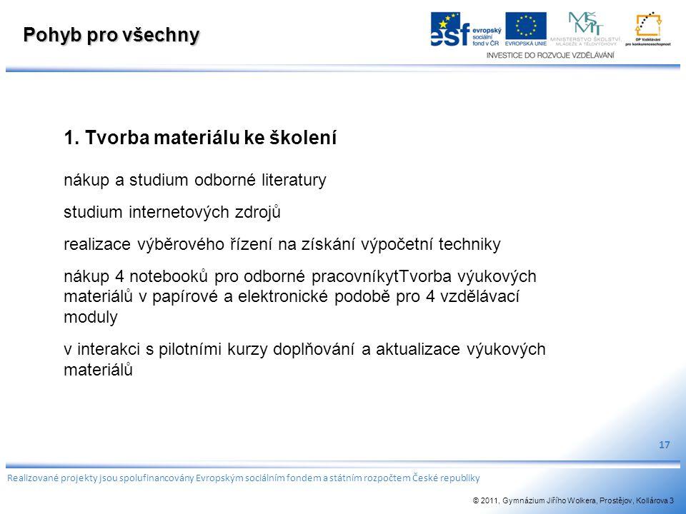 Pohyb pro všechny 1. Tvorba materiálu ke školení nákup a studium odborné literatury studium internetových zdrojů realizace výběrového řízení na získán