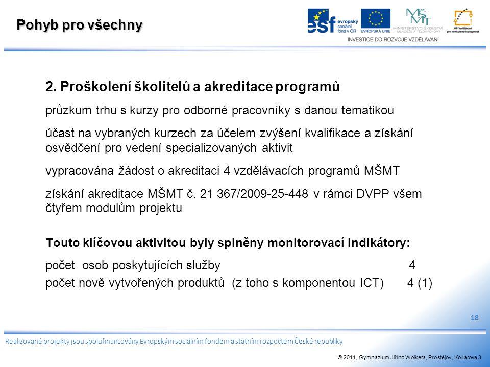 Pohyb pro všechny 2. Proškolení školitelů a akreditace programů průzkum trhu s kurzy pro odborné pracovníky s danou tematikou účast na vybraných kurze