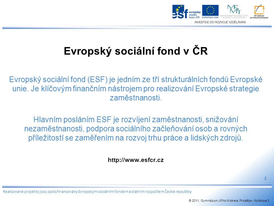 Evropský sociální fond v ČR Evropský sociální fond (ESF) je jedním ze tří strukturálních fondů Evropské unie. Je klíčovým finančním nástrojem pro real