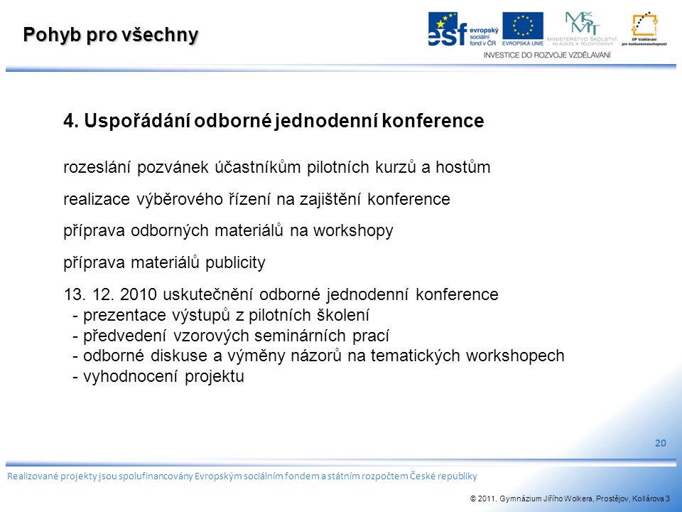 Pohyb pro všechny 4. Uspořádání odborné jednodenní konference rozeslání pozvánek účastníkům pilotních kurzů a hostům realizace výběrového řízení na za
