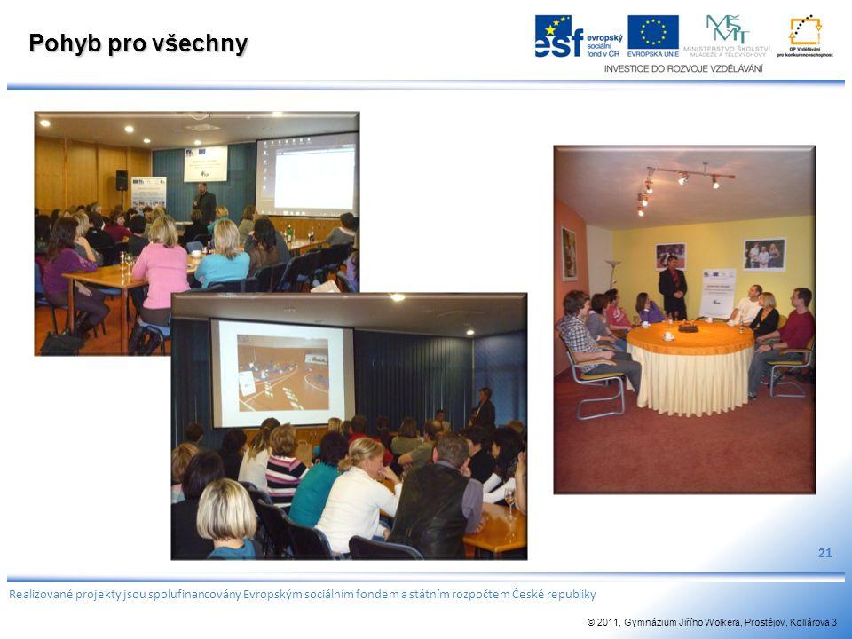 Pohyb pro všechny 21 Realizované projekty jsou spolufinancovány Evropským sociálním fondem a státním rozpočtem České republiky © 2011, Gymnázium Jiříh