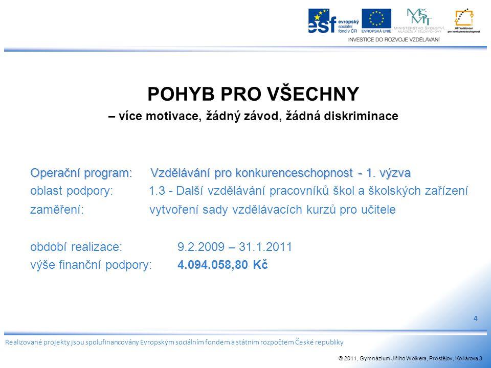 POHYB PRO VŠECHNY – více motivace, žádný závod, žádná diskriminace Operační program: Vzdělávání pro konkurenceschopnost - 1. výzva oblast podpory: 1.3