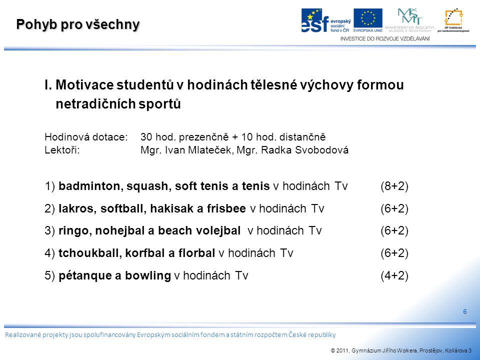 Pohyb pro všechny I. Motivace studentů v hodinách tělesné výchovy formou netradičních sportů Hodinová dotace:30 hod. prezenčně + 10 hod. distančně Lek