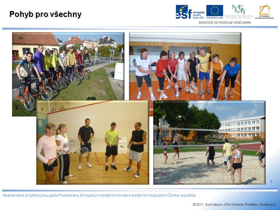 Pohyb pro všechny 7 Realizované projekty jsou spolufinancovány Evropským sociálním fondem a státním rozpočtem České republiky © 2011, Gymnázium Jiřího