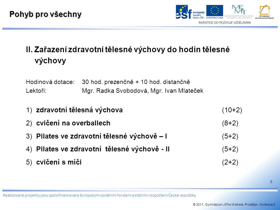 Pohyb pro všechny II. Zařazení zdravotní tělesné výchovy do hodin tělesné výchovy Hodinová dotace:30 hod. prezenčně + 10 hod. distančně Lektoři: Mgr.