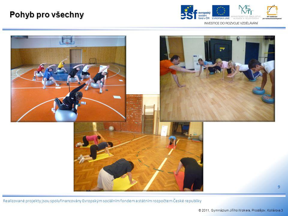 Pohyb pro všechny 9 Realizované projekty jsou spolufinancovány Evropským sociálním fondem a státním rozpočtem České republiky © 2011, Gymnázium Jiřího