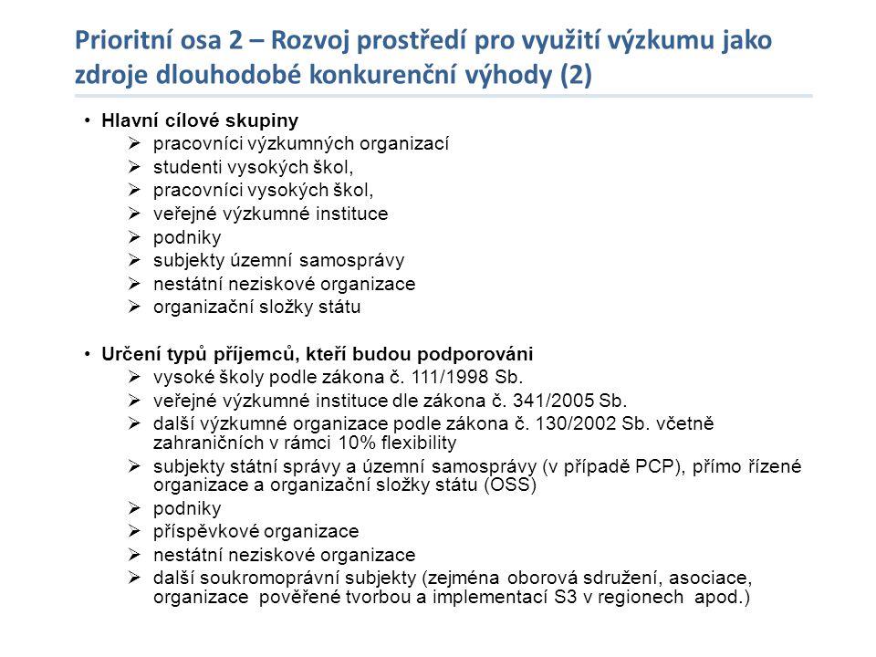 Prioritní osa 2 – Rozvoj prostředí pro využití výzkumu jako zdroje dlouhodobé konkurenční výhody (2) •Hlavní cílové skupiny  pracovníci výzkumných or